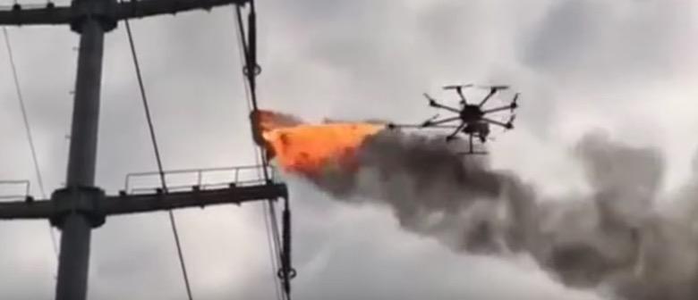 drone power line fire debris