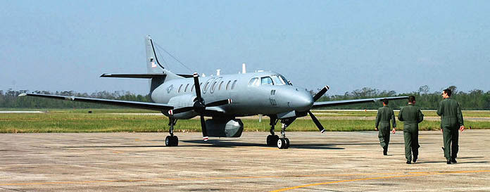 Military RC-26 reconnaissance aircraft deployed to assist firefighters
