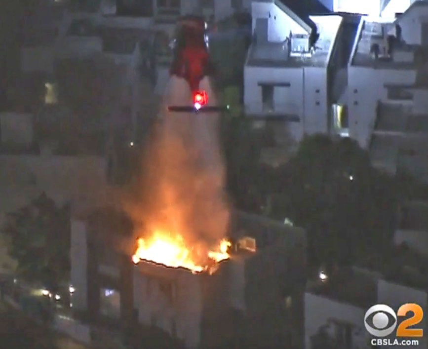 night flying helicopter structure fire
