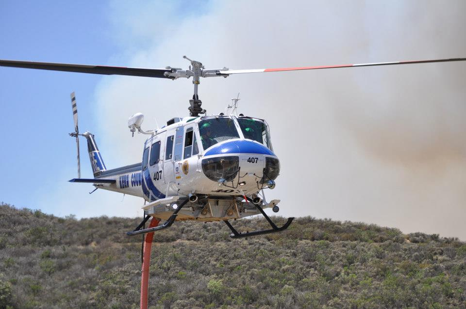 A Kern County FD night-flying helicopter assisted last month on the fires in Northern California