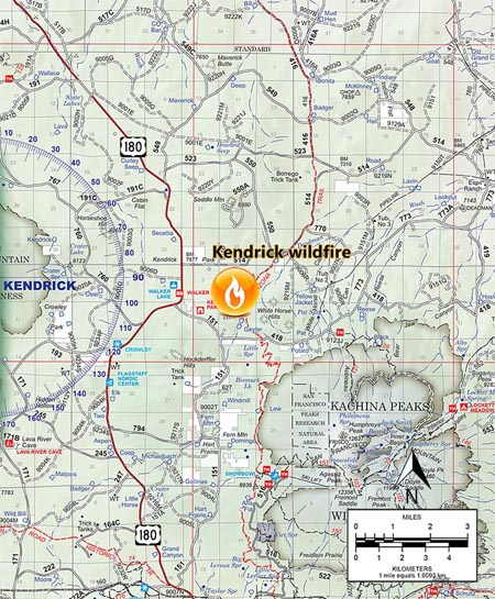 kendrick fire map arizona drone