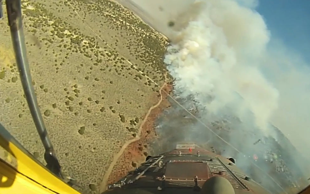 In-cockpit video of air tanker drop on Boone Draw Fire