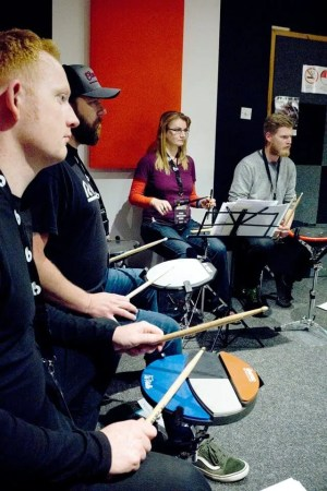 group of drummers trying Pete Rileys ideas
