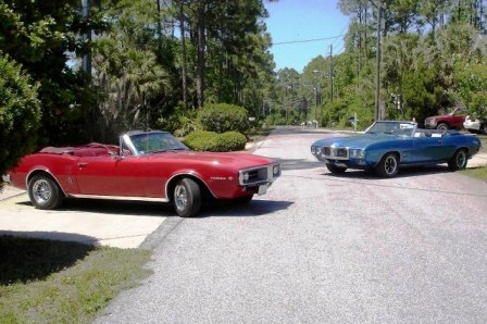 '67 Firebird of Jim Muldoon and '69 Firebird of Michael Scoggins