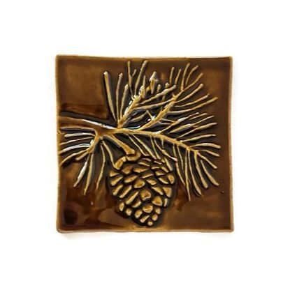Pine cone 4 inch handcrafted ceramic tile