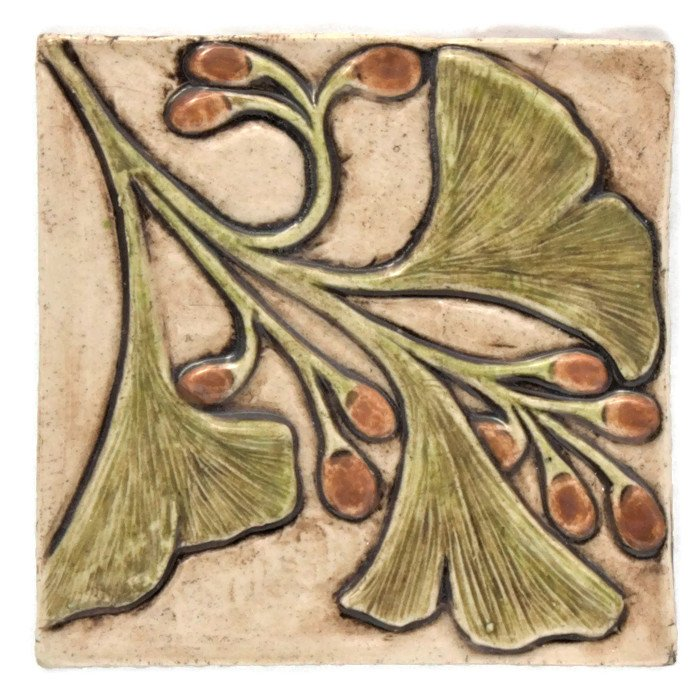 ginkgo leaves 4 inch handcrafted tile fire creek clay