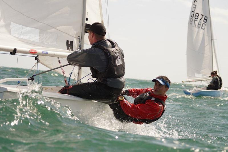 Hugo Burrows and Joe Scarborough sailing on day 2 of the 2019 Firefly Nationals in Lyme Regis