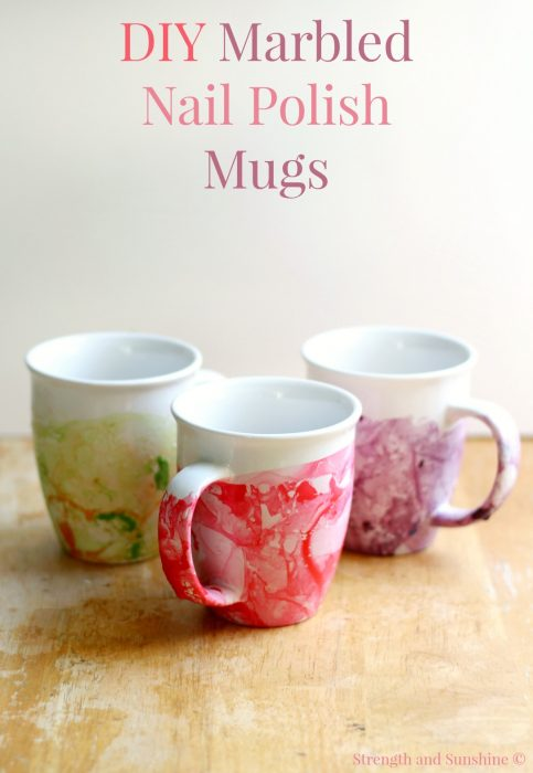 Easy DIY marbled nail polish mugs