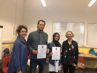 Mohammed & Nadia with certificates, Annas and Maria 17.11.18