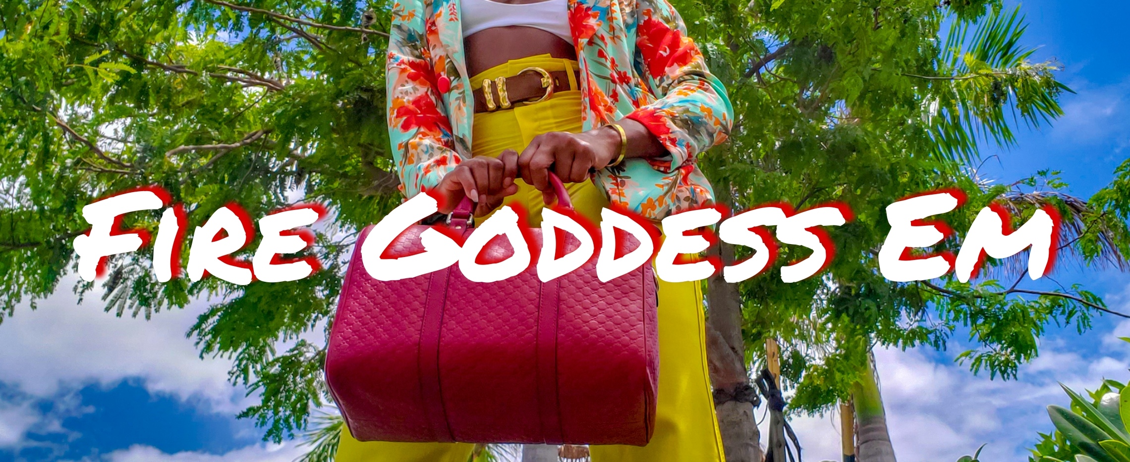 Me with the red Gucci pasta bag and yellow pants with the logo Fire Goddessoddess Em