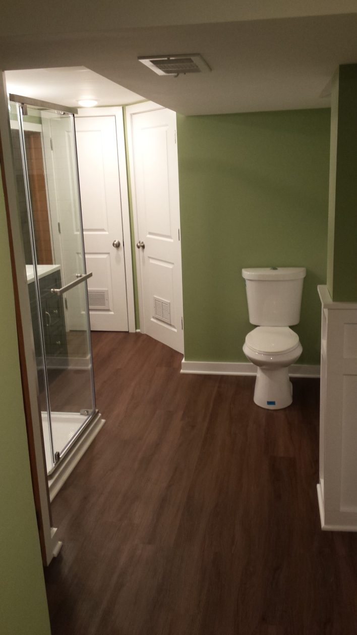 Finished bathroom, facing North