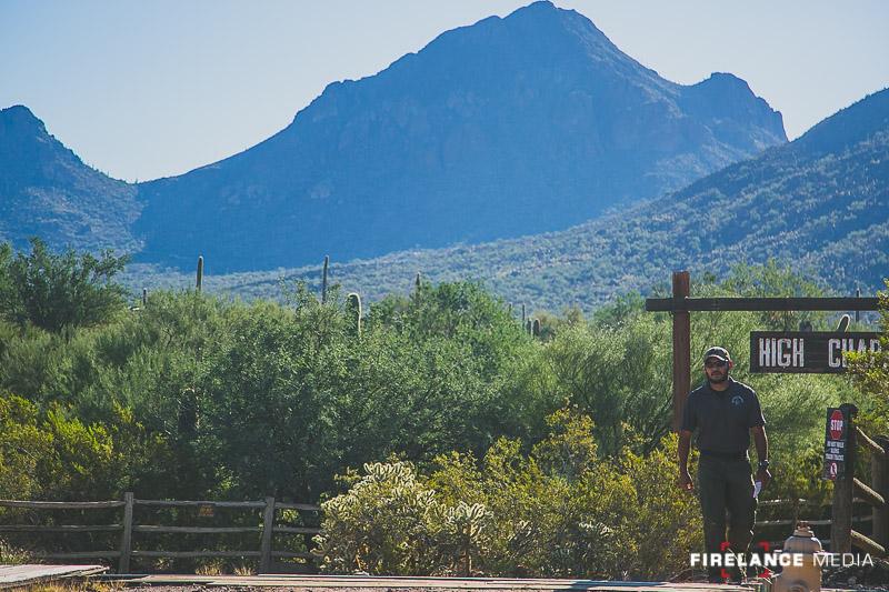 Freddy Osuna walks through Old Tucson to meet the class