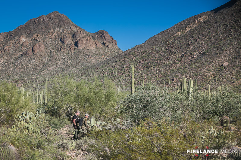 Yancey (TL) and Bobby (Tracker) working in the Arizona desert