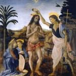 キリストの洗礼アンドレア・デル・ヴェロッキオとレオナルド・ダ・ヴィンチ, 1470年頃ウフィツィ美術館, フィレンツェ