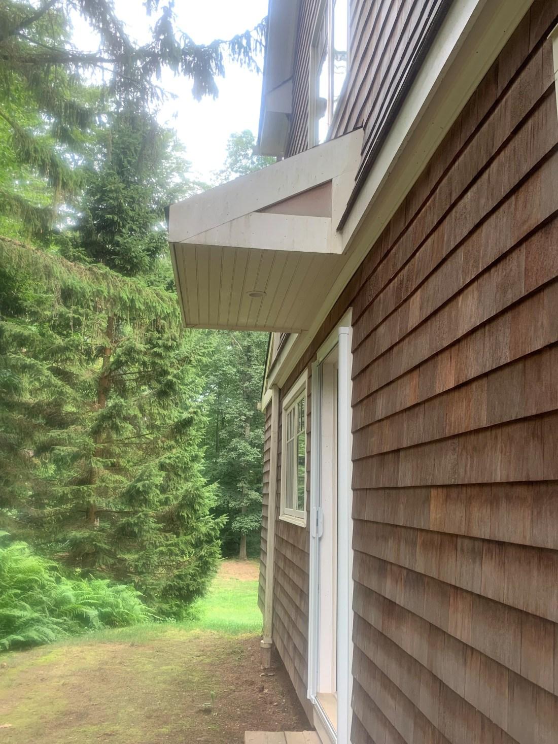 Ceiling done on side door overhang