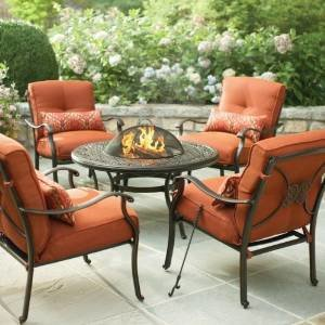 martha stewart living cold spring 5 piece patio fire pit set with burnt orange cushions fire pit ideas