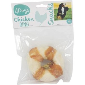 4Dogs Hunde Snack Tyggering af Rådhud med Kylling - 80g - - - -