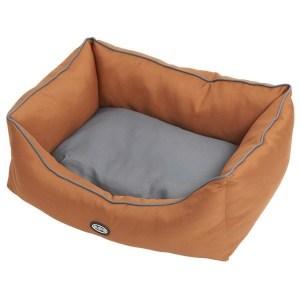 BUSTER Sofaseng, læderbrun/grå, 60 x 70 cm