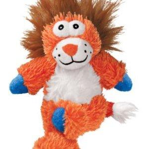 Kong Cross Knots Hundelegetøjs Løve I Blødt Plys og Slidstærkt Reb indvendig - 34x20x10cm - Med Pivelyd - - - -