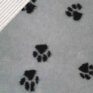 Luksus Vetbed hundetæppe, gråt med poter 100 x 150 cm