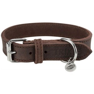 Rustikt Læder Halsbånd, Mørkebrun, 48-56