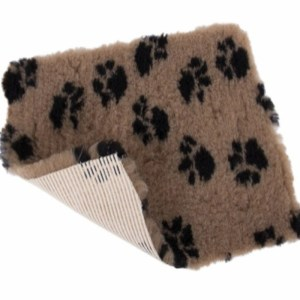 Vet Bed tæppe BRUNT med pote print - med gummi bagside