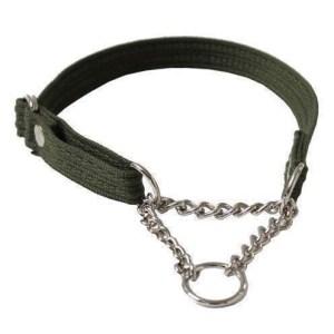 Webbing halsbånd med kæde, Grøn, XSmall