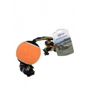 Whesco Hundelegetøjs Stor Tennisbold - Med Reb - Ø13x70cm - - - -