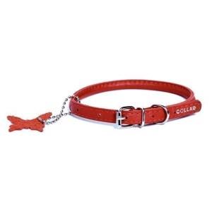 Rundsyet læderhalsbånd, Rød, Xsmall