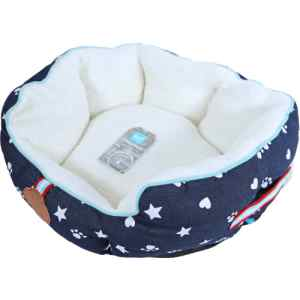 Lief rund hunde- eller katteseng - Blå med tryk