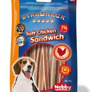 StarSnack Hunde Snack Godbidder - Med bløde Kyllinge Sanwich - 70g - 3% Fedt