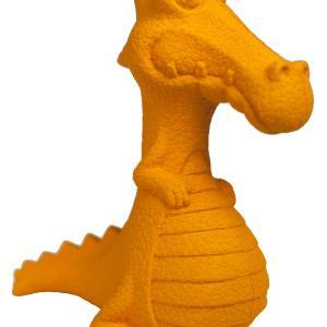 Faunakram legetøjsdrage i orange gummi med fløjte