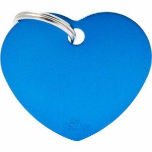 Hundetegn Basic Aluminium Big heart Blå