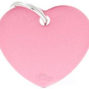 Hundetegn Basic Aluminium Big heart lyserød