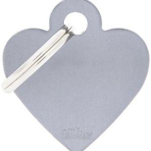 Hundetegn Basic Aluminium Small heart grå