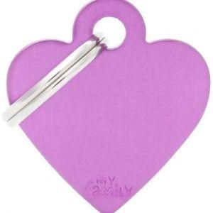 Hundetegn Basic Aluminium Small heart lilla