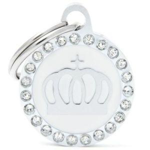 Hundetegn Glam Crown Small circle hvid
