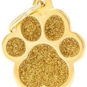 Hundetegn Shine Glitter Big paw guld