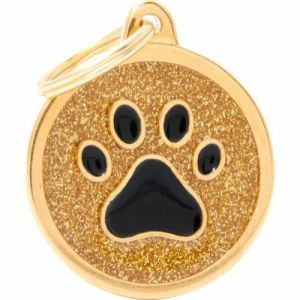 Hundetegn Shine Glitter Paw Big circle gold
