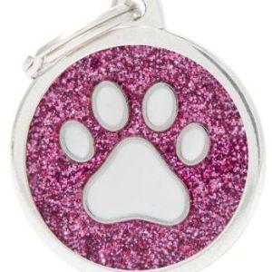 Hundetegn Shine Glitter Paw Big circle pink