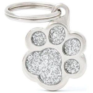 Hundetegn Shine Glitter Small paw sølv