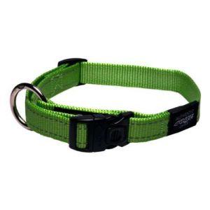 Rogz halsbånd Nitelife Lime Green, flere størrelser 34-56 cm