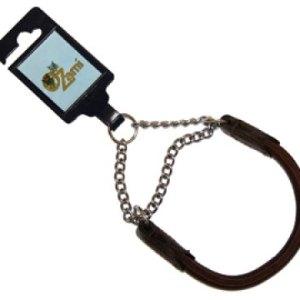 Elglæder rundsyet halsbånd med kæde 50cm - Brun