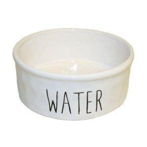 Keramik Vandskål i Hvid - Med Tekst - Ø12,5x5cm