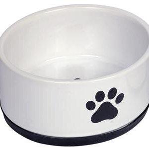 Nobby Hundeskål i Keramik - Med Pote Motiv og Skrid Sikker Bund - Flere Størrelser