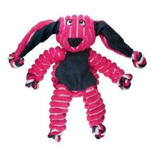 Kong Hundelegetøjs Floppy Knots Kanin - 23cm - Med Pivelyd og Reb