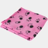Active Canis Fleece Hundetæppe i Pink - Med Poter - 75x100cm