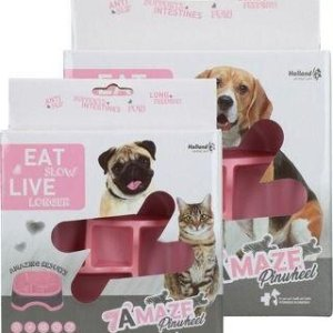 Eat Slow Live Longer Amaze Pinwheel Hundeskål - Pink - Small