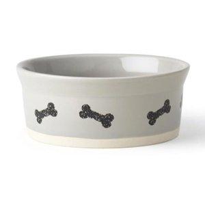 Petrageous Classy Bones Hundeskål i Keramik - Grå - Ø12,5x5