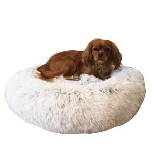 Fluffy hundeseng frossen hvid-M